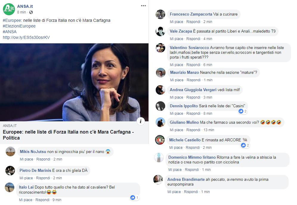 Mara Carfagna non è in lista alle Europee, commenti sessisti sui social