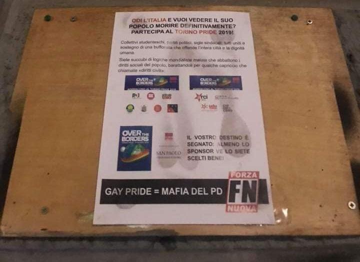 """Forza Nuova affigge dei volantini a Torino: """"Gay Pride = Mafia del PD"""""""