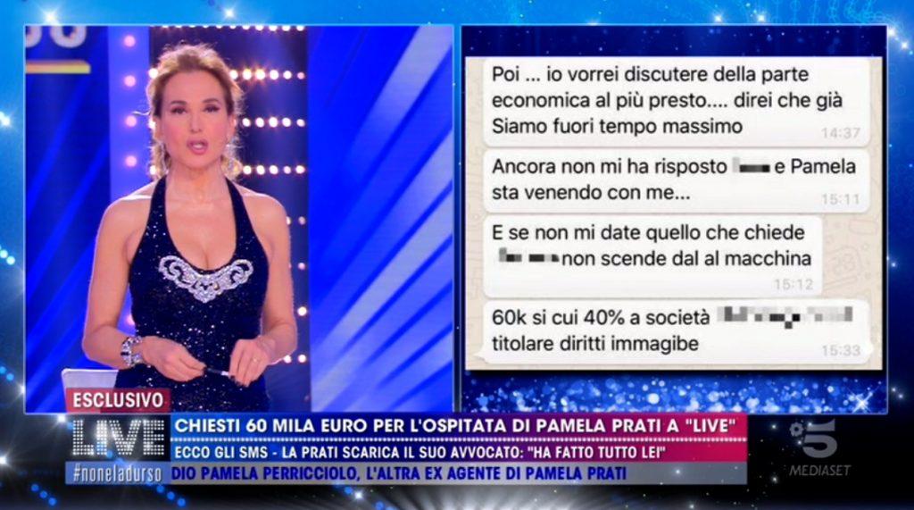 Barbara d'Urso mostra gli screenshot che inchiodano Pamela Prati sul cachet