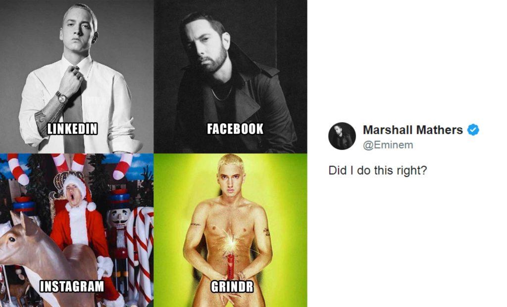 Eminem partecipa alla #DollyPartonChallenge: al posto di Tinder c'è Grindr