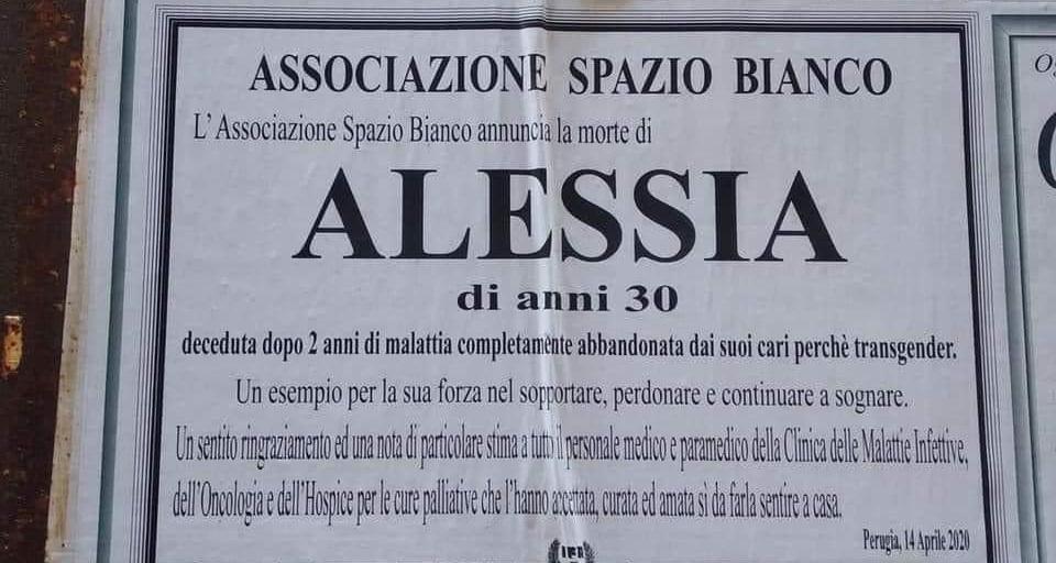 Perugia, 30enne muore dopo 2 anni di malattia «abbandonata dai suoi cari perché transgender»