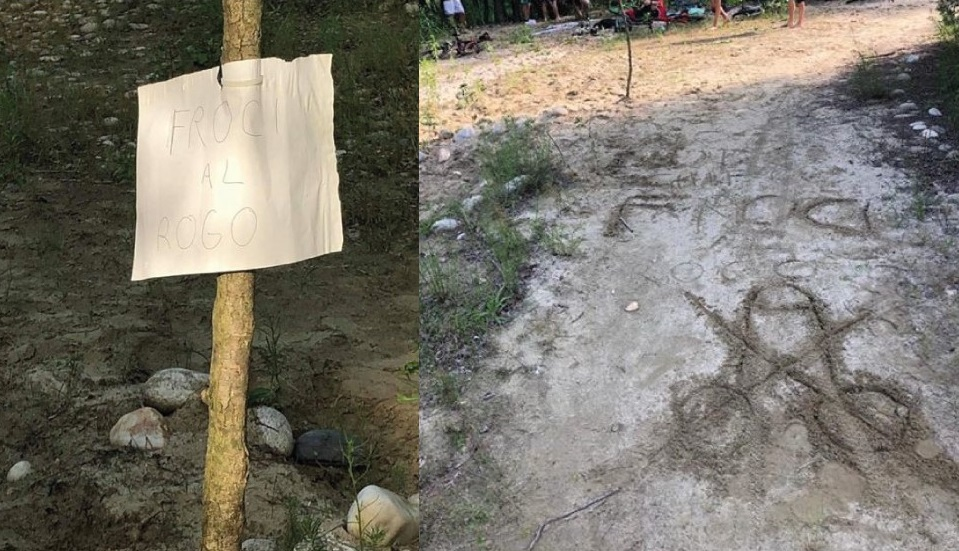 Vizzola Ticino, un cartello omofobo nella spiaggia frequentata da bagnanti LGBT+: «Fr**i al rogo»