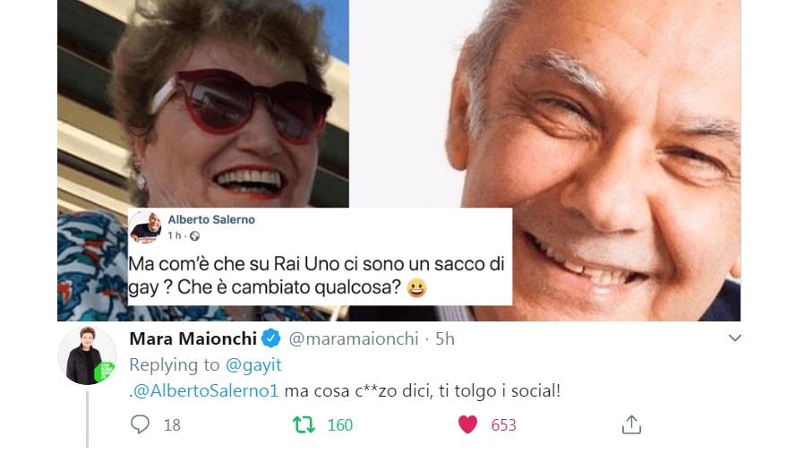 Alberto Salerno: «Su Rai1 ci sono un sacco di gay». Ma la Maionchi lo mette in riga