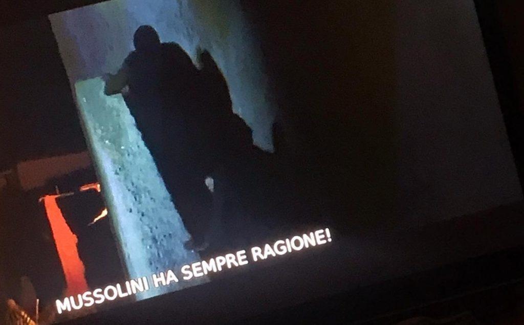 «Mussolini ha sempre ragione!»: la scritta choc sull'emittente della CEI