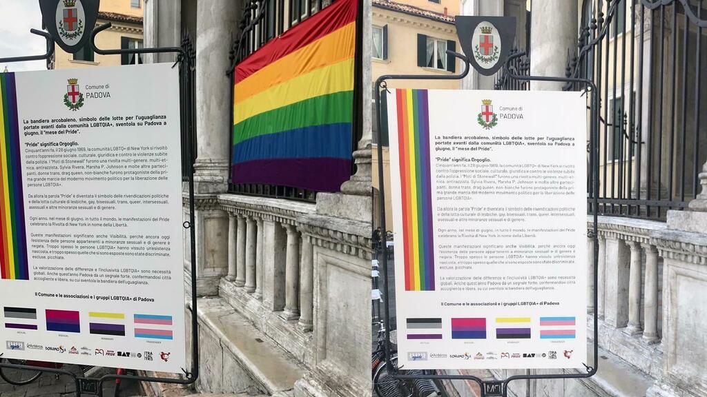 Padova, rubata la bandiera arcobaleno del Comune. Arcigay Padova: «Andiamo ad appendere le nostre»