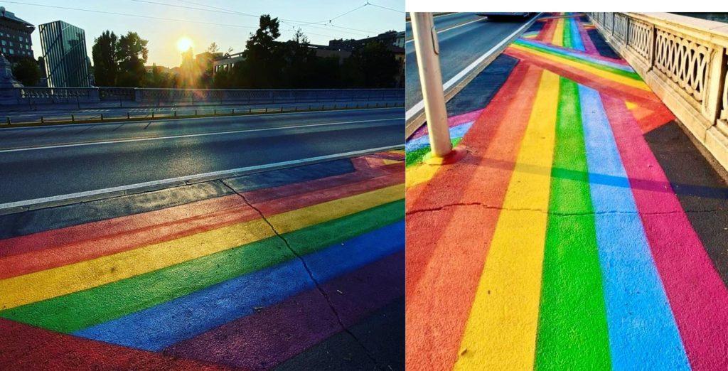 Il Comune di Padova tinge una strada di arcobaleno per celebrare l'orgoglio LGBT+