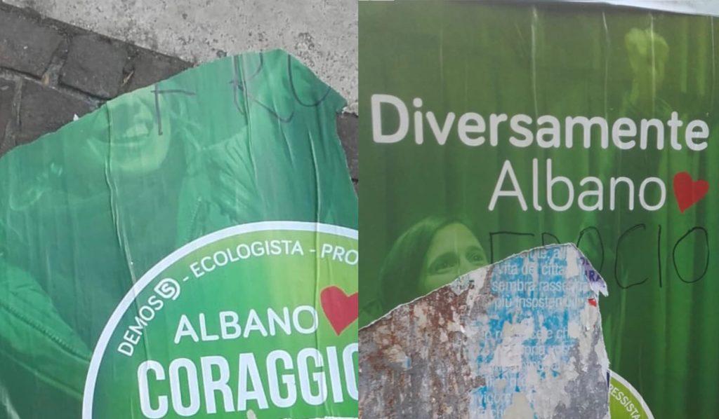 Albano Laziale, manifesti vandalizzati con la scritta «fr**io». Elly Schlein: «atto vile»