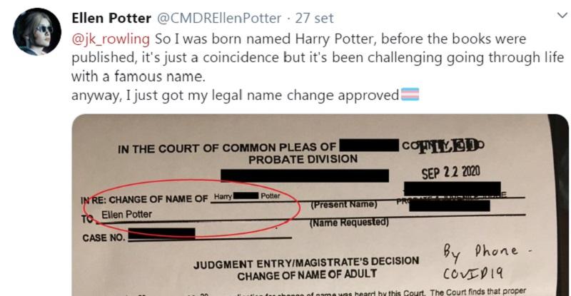 Cambia nome da Harry Potter in Ellen Potter: ragazza trans scrive a J.K. Rowling