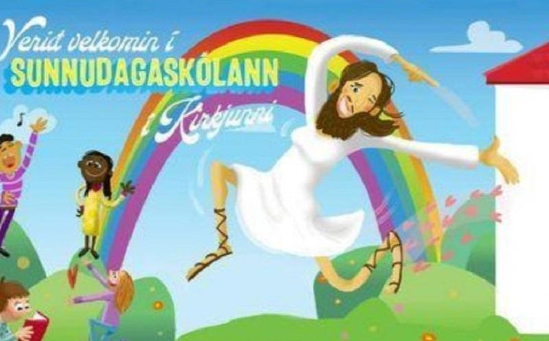 Gesù ha il seno e saltella sotto un arcobaleno: la Chiesa luterana indigna Pillon