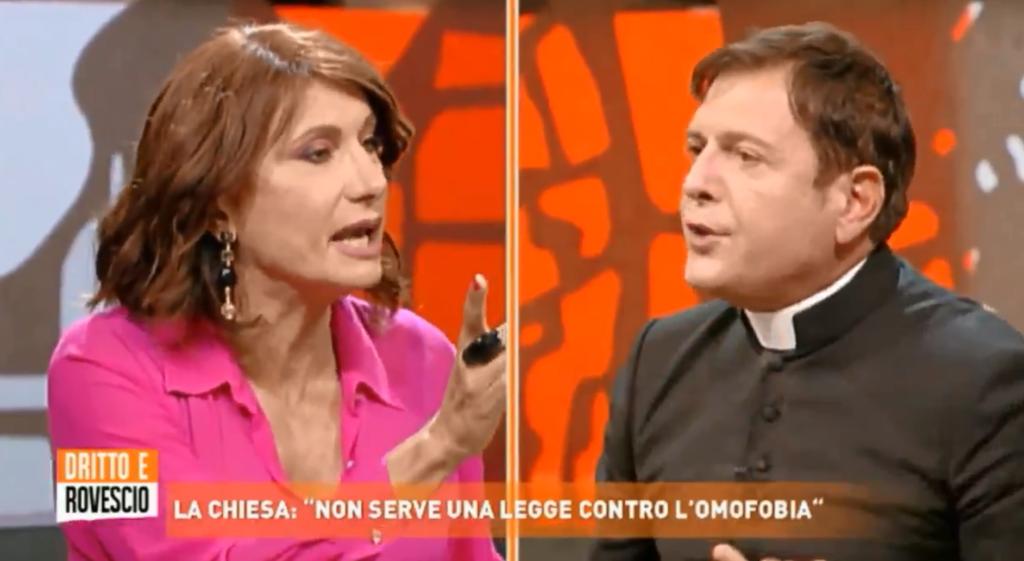 Misgendering a Dritto e Rovescio, padre Ariel urla «zitto!» contro Vladimir Luxuria