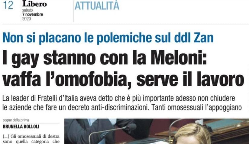 Secondo Libero «i gay stanno con la Meloni: vaffa l'omofobia»