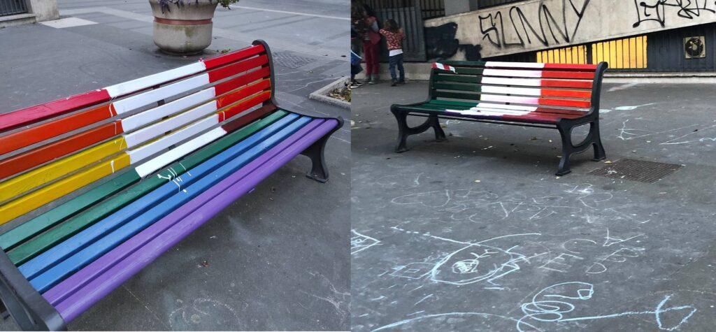 Panchine arcobaleno deturpate a Roma: al posto dell'arcobaleno il tricolore