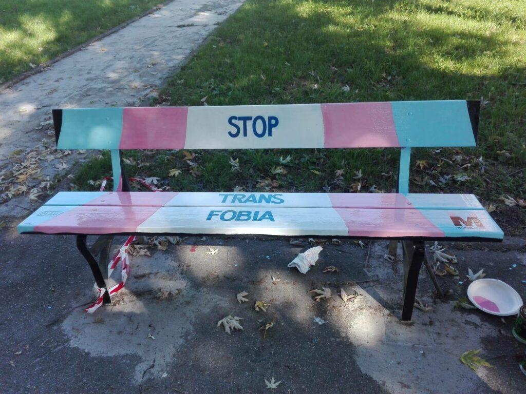 A Torino la prima panchina con i colori della bandiera transgender
