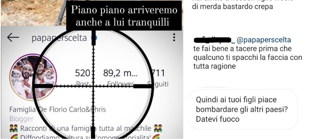 Minacce di morte su Instagram alla famiglia dei Papà per Scelta