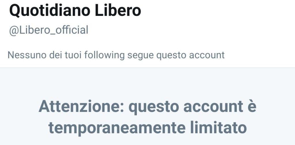 Dopo Donald Trump, Twitter limita anche l'account di Libero