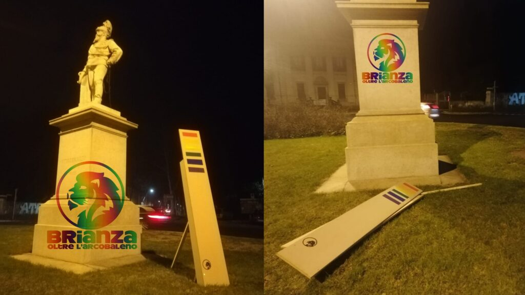 Monza, vandalizzato il monolite rainbow a meno di 24 ore dall'installazione