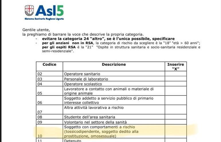 La Spezia, omosessuali categoria a rischio nel modulo vaccinazioni