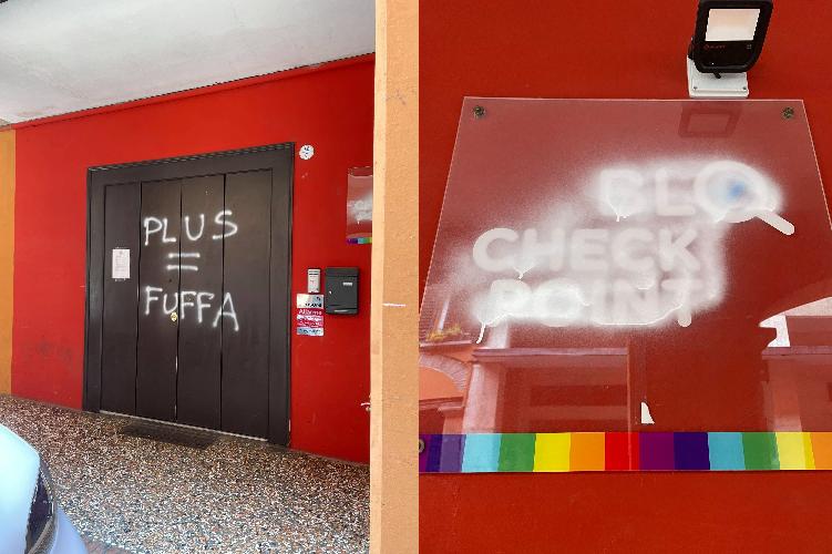 Vandali danneggiano la sede di Plus Bologna