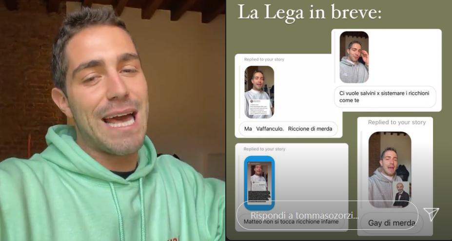 I seguaci di Matteo Salvini riempiono Tommaso Zorzi di insulti omofobi