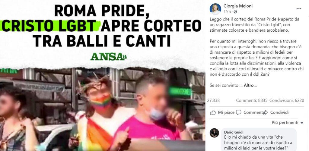Un Gesù arcobaleno sfila al Roma Pride e Giorgia Meloni si indigna